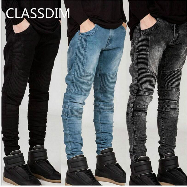 6604b5a8482f CLASSDIM High Street Style Denim Jeans Men Fashion Folds Skinny Jeans Men  Elastic Black Jeans New Male Slim Denim JEANS