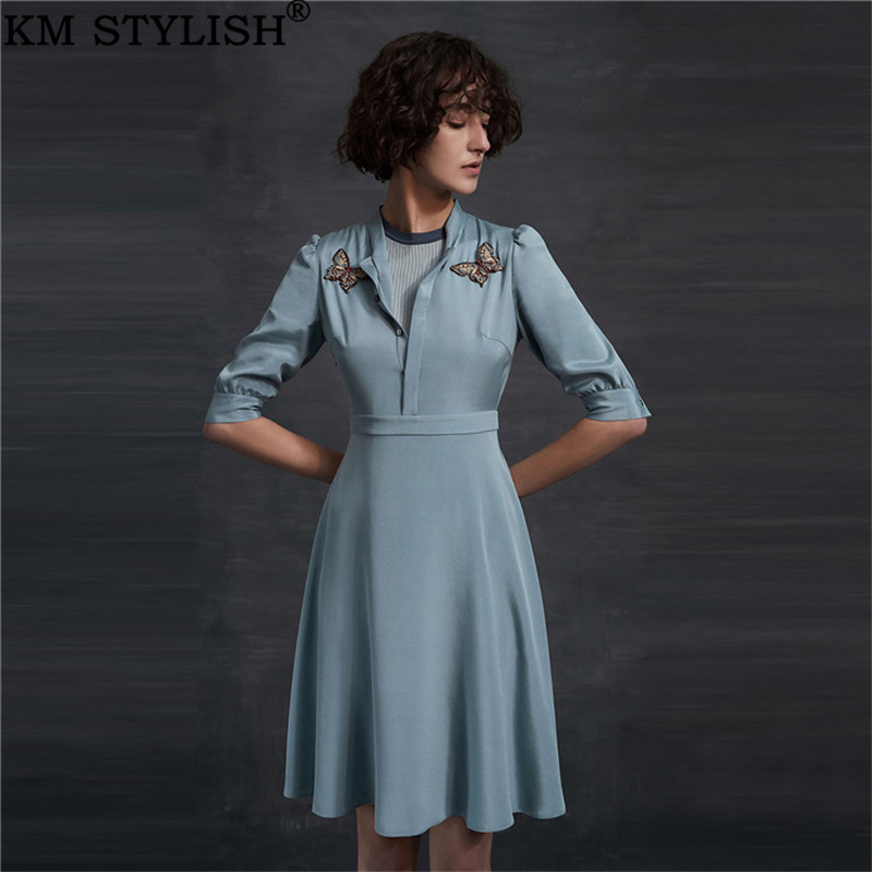 2019 été nouveau femmes une-pièce robe brodé papillon simple boutonnage arc manches bouffantes plissée solide bleu Satin robe