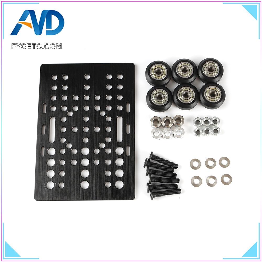 Aluminium V Slot Gantry Plate 20 80mm With 6pcs Black/Transparent V Slot Solid V Wheel Kit For Openbuilds CNC Machine Part