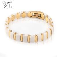A N Stainless Steel Bangle Bracelets White Ceramic Hologram Bracelets Healing Energy Bangle Solid Gold Silver