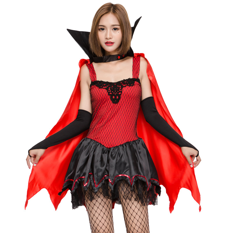 2018 High Quality Women Vampire Bat Cosplay Costume Halloween Sexy Performance Dress For Adult Girl