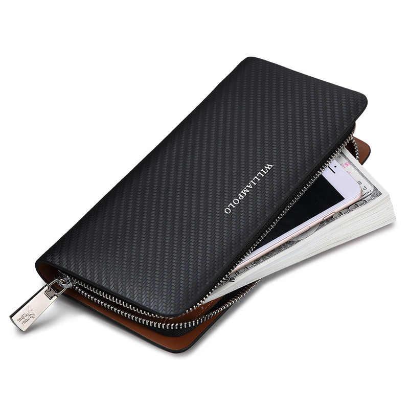 6c80f9aa7c05 ... WILLIAMPOLO оригинальный бренд 100% кожаный бумажник для мужчин  известный длинный вязание узор кошелек для мужчин ...