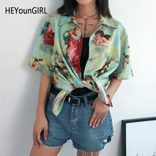 HEYounGIRL Korean Printed Angel Shirt Women Half Sleeve Vintage T Shirt Ladies Turn-down Collar Harajuku Tee Shirt Women Summer(China)