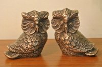 2 Vintage Brass Owl Statue Golden Bronze Pair of Copper Owls Metal Craft Arts Gift Home Office Table Decoration Antique Animal