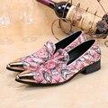 Christia Bella Italiana Diseñador de Metal Del Dedo Del Pie de Los Hombres Zapatos de Vestir Del Banquete de Boda de Los Hombres de Cuero Genuino Holgazanes Zapatillas Fumadores Hombres Pisos