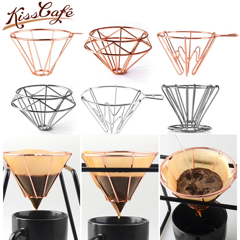 V60 Espresso Coffee Filter Net Stainless Steel Dripper Filter Cup Holder Solid Drip Coffee Maker Household Kitchen Accessories