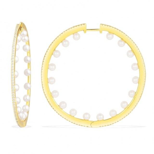 [MeiBaPJ]Round Drop Earrings Real 925 Sterling Silver Earrings for Women Cubic Zircon Crystal Circle Earrings Fine Jewelry Gift