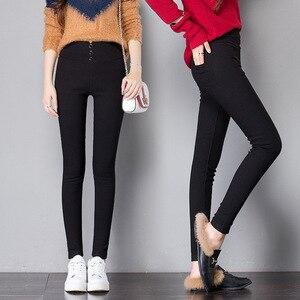 Image 4 - Nero delle donne Pantaloni A Matita 2018 Primavera Autunno Pulsante pocke Pantaloni Donna Pro Signore Jean Pantaloni Femminili A Vita Alta pantaloni