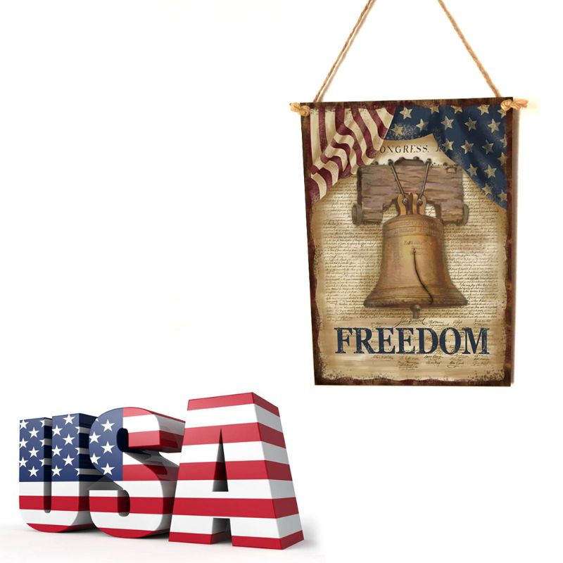 Image 2 - Vintage Wooden Hanging Plaque Freedom Sign Board Wall Door Home Decor Independence Day Party Gift-in Plaques & Signs from Home & Garden
