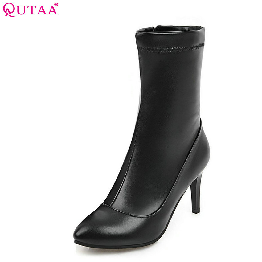 QUTAA 2018 Women Fashion Mid Calf Boots Zipper Spring/autumn Thin High Heel Pointed Toe Ladies Mitorcycle Boots Size 34-43 2018 new superstar flock runway peep toe slip on fashion brand shoes wedges autumn spring lazy zipper mid calf boots for women