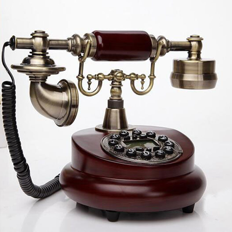 лучшая цена FSK/DTMF Antique European Retro Landline Phone With Call ID Clock Ringtone Timing Function Fixed Telephone For Home Office Hotle