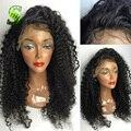Glueless перед парики человеческих волос бразильские странный вьющиеся фронта парики-девы волос полный человеческих волос парики для чернокожих женщин