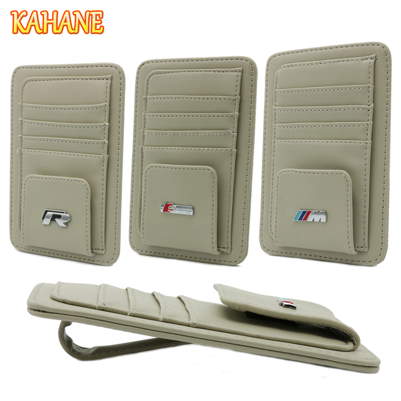 KAHANE Leather Car Sun Visor Sunglasses Holder Clip Credit Card Bag FOR Audi A6 Q5 A4 A3 A5 BMW E46 E39 F10 F30 VW Passat Golf 4 free ship turbo k03 29 53039700029 53039880029 058145703j n058145703c for audi a4 a6 vw passat 1 8t amg awm atw aug bfb aeb 1 8l