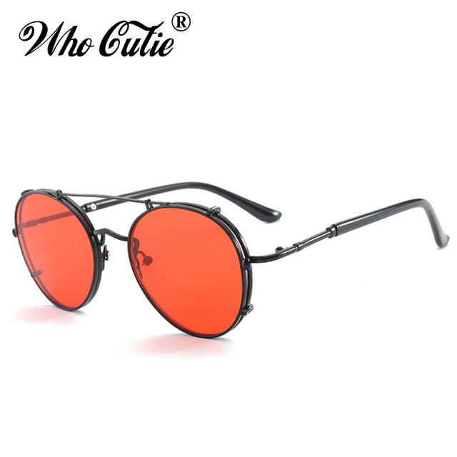 42f01a82ef WHO CUTIE 2018 RED LENS Round Steampunk Sunglasses Men Women Metal Frame  Circle Clear Lens Retro Punk Sun Glasses Shades OM376