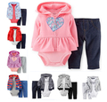 SY0980 boys and girls clothes 3 pcs cardigan with a hood + bodysuit + pants cotton baby clothing set retail