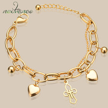 Nextvance – Bracelet croisé en acier inoxydable pour filles, chaîne de perles dorées, bijoux de mariée multicouches