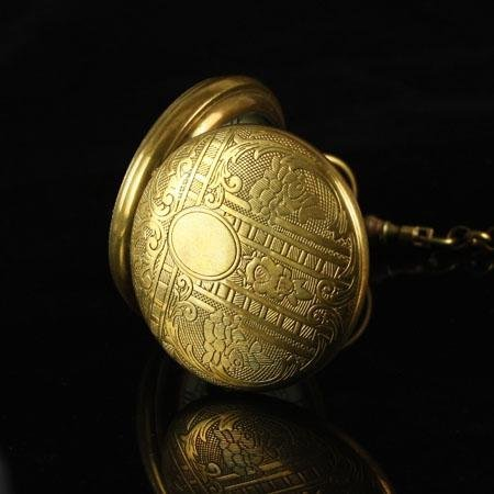 Antique Pure Copper Cover Skeleton Pocket Watch freeship