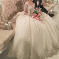 1 5m Long Train Luxury Lace Appliques Wedding Dresses Stunning New Model Puffy Skirt Long Sleeve