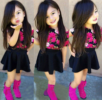 SQ201 Free Shipping 2015 New Arrival Fashion Girls T Shirt Skirt Suit Flower Color Skirt Suit
