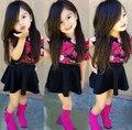 SQ201 Frete grátis 2015 novos chegada de moda meninas T-shirt + terno de saia flor saia cor do terno crianças vestir as crianças se vestem varejo