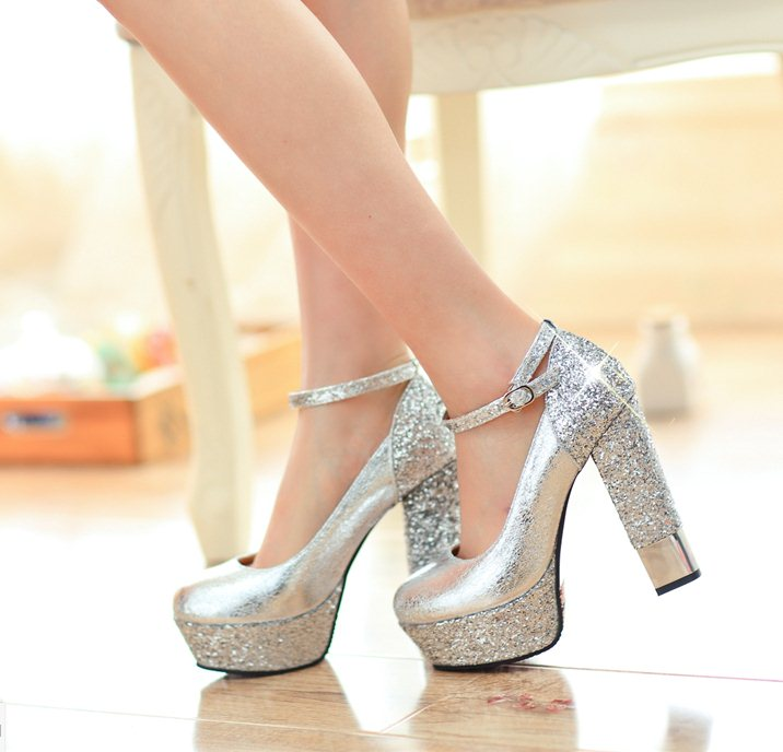 2015 Size 34 39 N1387 12CM Women Sexy Gold Silver Chunky Heels ...