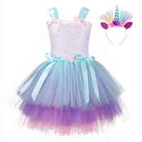 Surprise Candy Lol Unicorn Party Tutu Dress for Teen Lol Dolls Pattern Knee Length Dress Three Layers Cake Kids Party Dress Gown