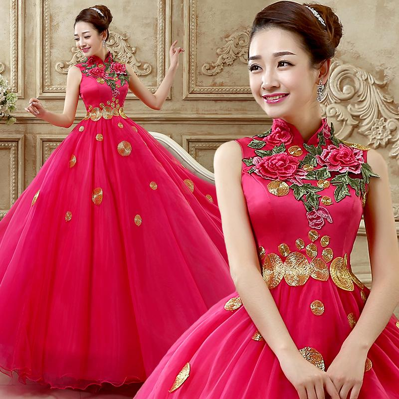 Freeship with Petticoat Elegant Exquisite Embroidery Peony Stand Collar Quinceanera Dresses Performance Dress 1171