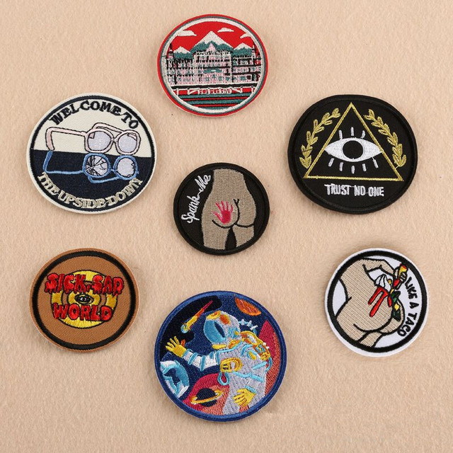Embroidery fashion logo round badge sports patches cartoon