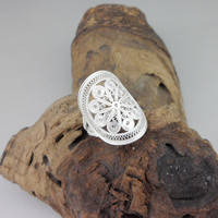 Adjustable Ring Fashion Bohemian Big Rings Unisex Sun Flower 999 Sterling Silver Women Men Guy Gift