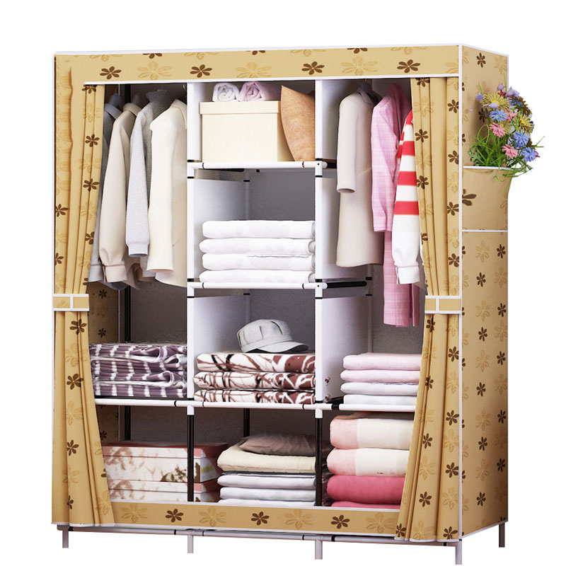 Oxford Cloth Wardrobe Simple Folding Wardrobe Combination Steel Reinforcement Large Wardrobe Full Dust ProtectionOxford Cloth Wardrobe Simple Folding Wardrobe Combination Steel Reinforcement Large Wardrobe Full Dust Protection