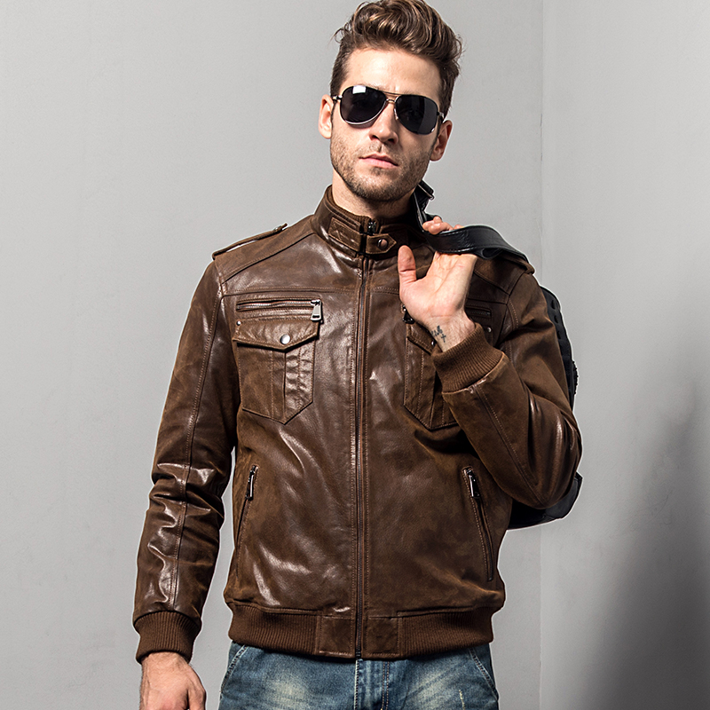 Men s pigskin motorcycle real leather jacket padding cotton winter warm coat male Genuine Leather jacket Men's pigskin motorcycle real leather jacket padding cotton winter warm coat male Genuine Leather jacket
