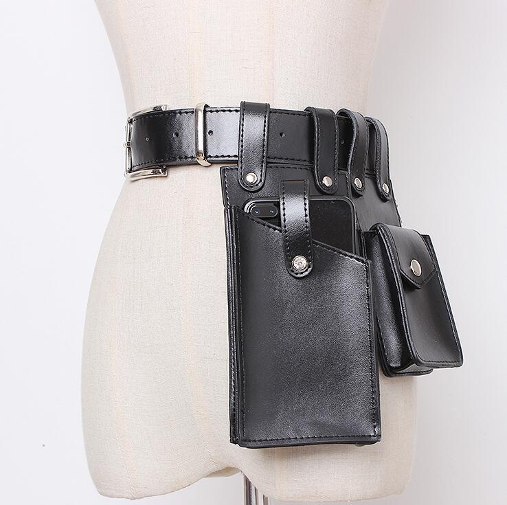 Women's Runway Fashion Pu Leather Cummerbunds Female Dress Corsets Waistband Belts Decoration Wide Belt R1657