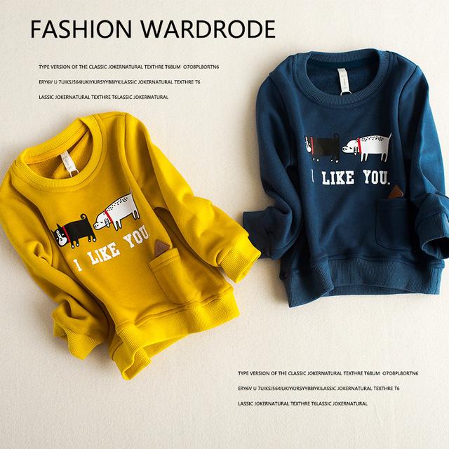 2016 nova outono meninos meninas roupas crianças dos desenhos animados de algodão t camisa dos miúdos carta camisola hoodies manga longa Eu GOSTO de VOCÊ outfits