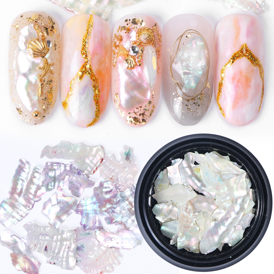 1Box 3D Glitter Sequins Nail Art Decorations Abalone Pearl Shell Slice Flake Holographic Spangles Tips Nails Accessories LY791
