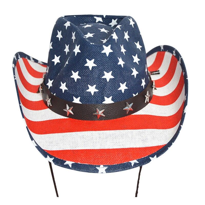 Drapeau américain Panama Cowboy Chapeau Marin Chapeau De Danse Personnalité Lité Vent Prairies Étoiles Jazz Chapeau
