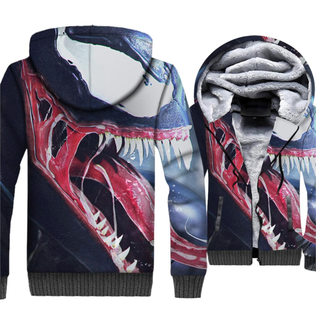 Super Hero 2019 Hot Winter Warm 3D Jackets Venom Men Hoodies Punk Style Men's Sweatshirts Plus Size Coat M-5XL Brand Clothing