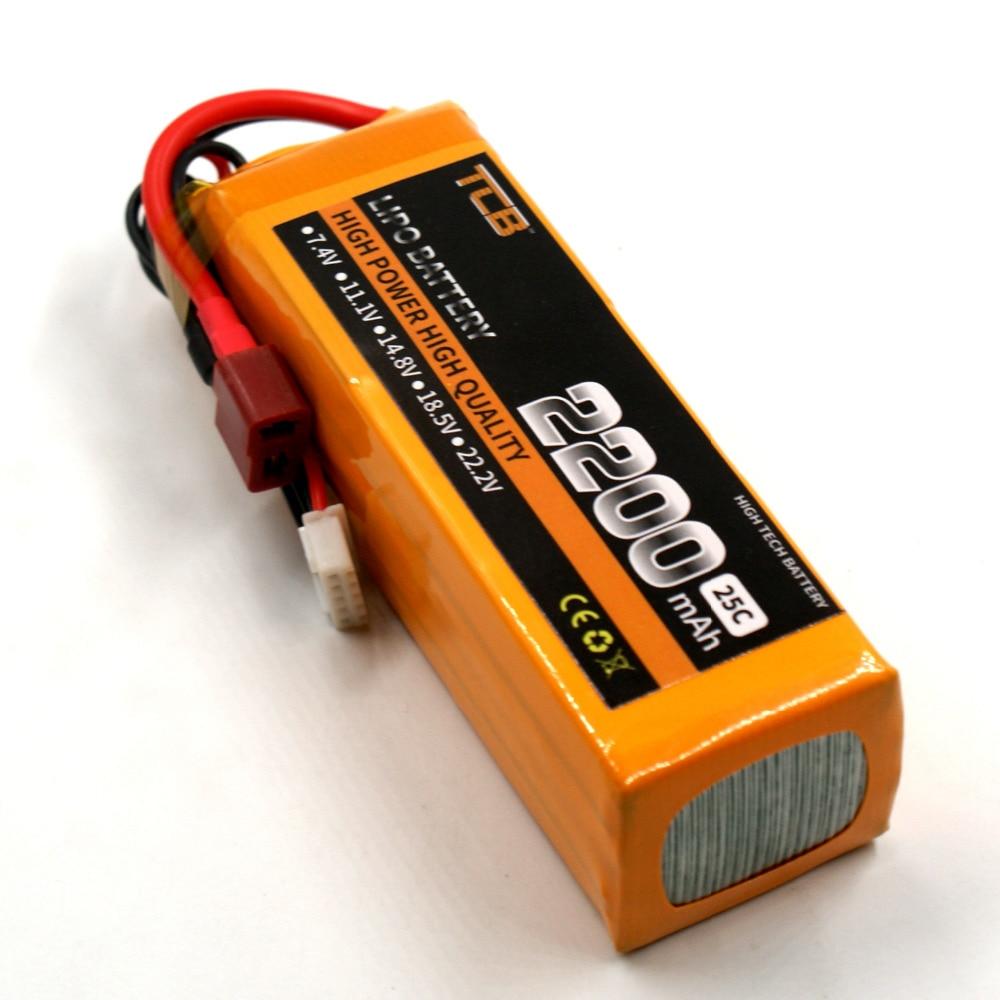 TCB RC lipo battery 14.8v 2200mAh 25C 4s RC airplane car boat batteria Free shipping 1s 2s 3s 4s 5s 6s 7s 8s lipo battery balance connector for rc model battery esc