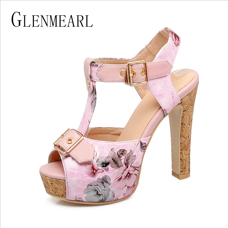 Brand Woman Sandals High Heels Women Shoes Summer Plus Size Open Toe Ankle Strap Rome Shoes Female Platform Thick Heels Pumps 45 e toy word summer platform wedges women sandals antiskid high heels shoes string beads open toe female slippers