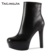 цены New Woman Black Platform Ankle Boots With Side Zipper Supper High Heels Ladies Winter Fall Fur Keep Warm Round Toe Ankle Boots