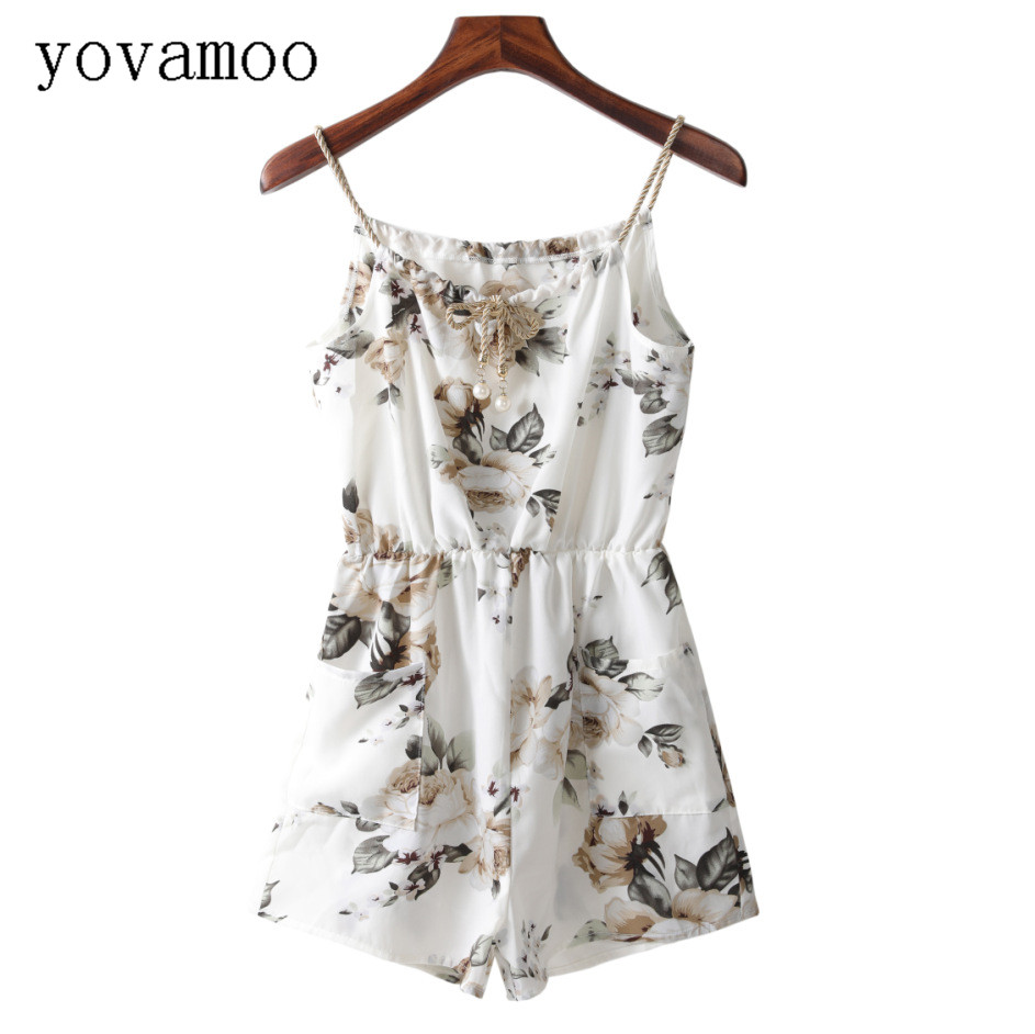 Yovamoo 2018 Summer Bohemian Spaghetti Strap Floral Printing Woven Beaded Jumpsuit Shorts Vintage Romper Women ...