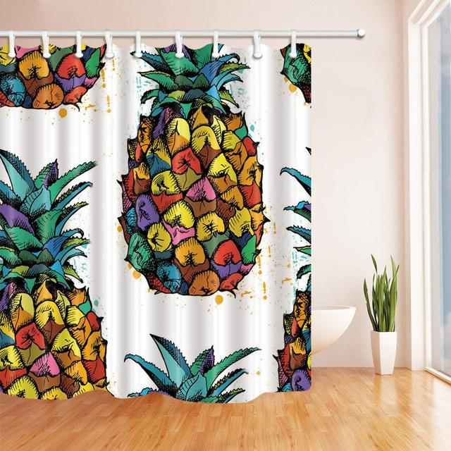 Tropical Fruit Cartoon Color Pineapple Bath Curtain Polyester Fabric Waterproof Shower Curtains Hooks Red Yellow