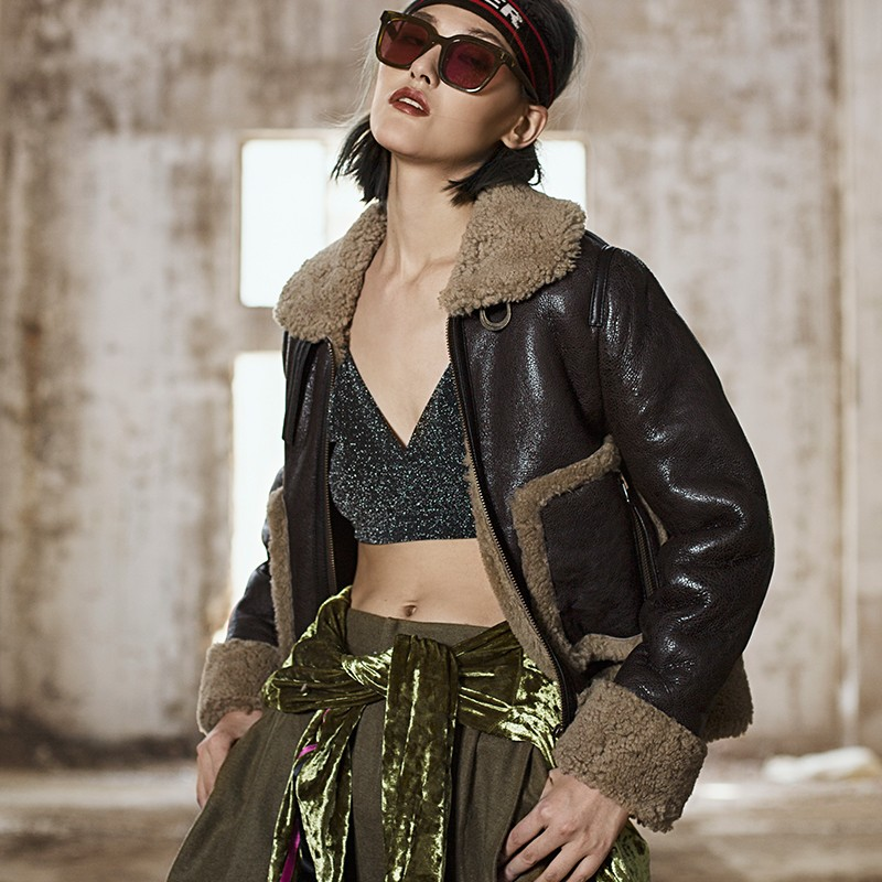2019 manteau de fourrure de mouton mérinos véritable femmes doublure de laine de luxe en cuir véritable col de fourrure Moto Biker Shearling veste Harajuku femme