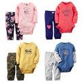 Baby Boy Девушка 2 шт. комплект одежды на Осень и весна Bebes картер Хлопка С Длинным Рукавом Боди Брюки Младенческой наборы