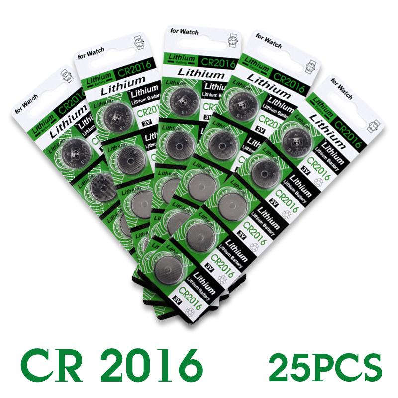 Hot selling 25 Pcs 3V Lithium Coin Cell Button Battery DL2016 KCR2016 CR2016 LM2016 BR2016 EE6277