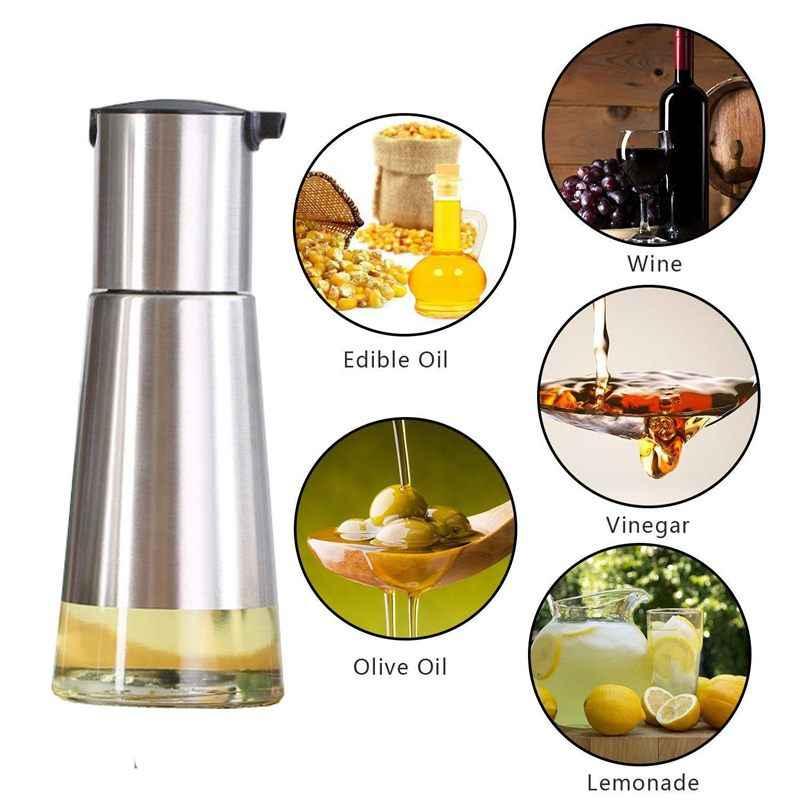 السيطرة عليها النفط و موزع الخل 2 حزم ، المطبخ الزجاج زجاجة زيت الزيتون مجموعة ، الفولاذ المقاوم للصدأ لا بالتنقيط تصميم صغيرة (320m