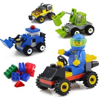 Mini City Build Model Building Blocks Toys Car Engineer  Soldier Truck Educational Toys for Children Kindergarten Gifts Солдат
