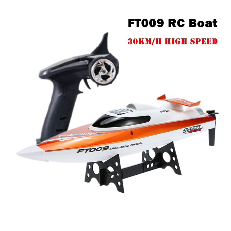 2.4G 4CH Fei Lun FT009 RC Boat 30km/h High Speed Racing Boat Water Cooling System Self-righting Speedboat 360 Flip Airship Boat^  цена и фото
