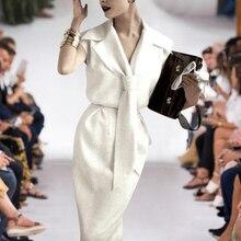 ชุดยาวมิลานรันเวย์ Designer คุณภาพสูงฤดูร้อนใหม่สตรีแฟชั่นที่ทำงานเซ็กซี่ Vintage Elegant Chic ชุดสีขาว