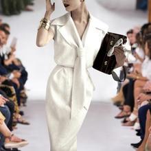 Vestido largo de pasarela de Milán alta calidad diseñador novedad de Verano de la mujer de moda de trabajo fiesta Sexy Vintage elegante chic blanco vestidos