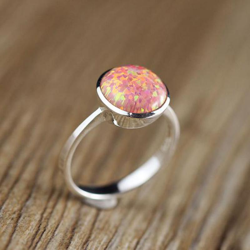 все цены на Real Pure 925 Sterling Silver Fire Opal Rings For Women Simple Smooth Design Round Shape Natural Gemstone Ring Anel Feminino
